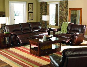 Dark Brown Vinyl Leather Living Room W/Recliner Seats | Furniture ...