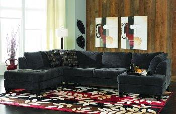Wonderful Charcoal Gray Fabric Contemporary Double Chaise Sectional Sofa