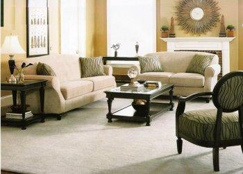 Beige Chenille Fabric Elegant Classic Living Room W/Rolled Arms ...